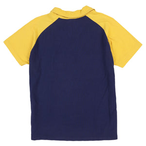 POLO SPORT LIONS SHIELD V PIQUE POLO // NAVY YELLOW
