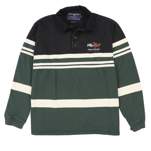 POLO SPORT SPORTSMAN MOUNTAIN STRIPE LS POLO // BLACK WHITE GREEN