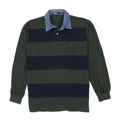 POLO DENIM COLLAR LS POLO // GREEN NAVY