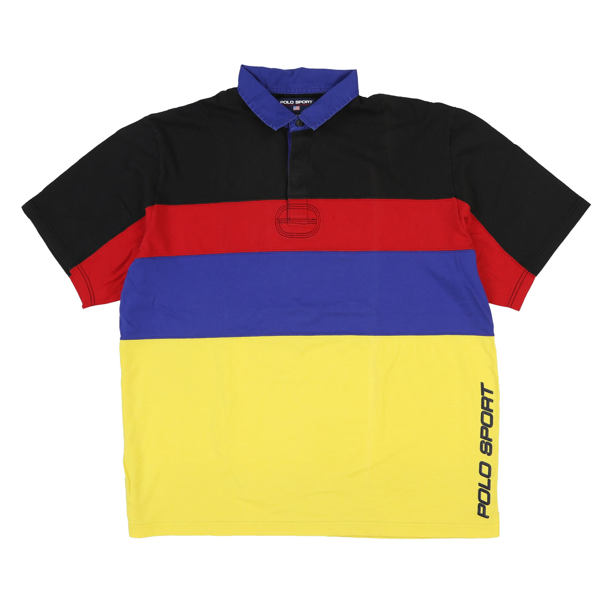 POLO SPORT SPELL OUT BLOCK COLOR POLO // BLACK RED BLUE YELLOW