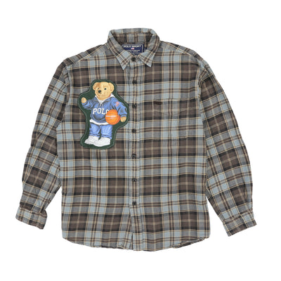 POLO SPORT SPORTSMAN PLAID CUSTOM BEAR LS SHIRT // BLUE