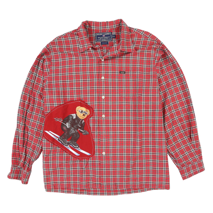 POLO SPORT SPORTSMAN PLAID CUSTOM BEAR LS SHIRT // RED