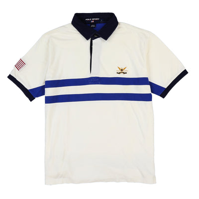 POLO SPORT EAGLE SHIELD POLO // WHITE BLUE