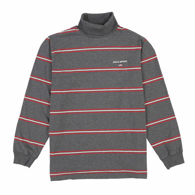 POLO SPORT EMB SPELL OUT STRIPE TURTLENECK // GREY WHITE RED