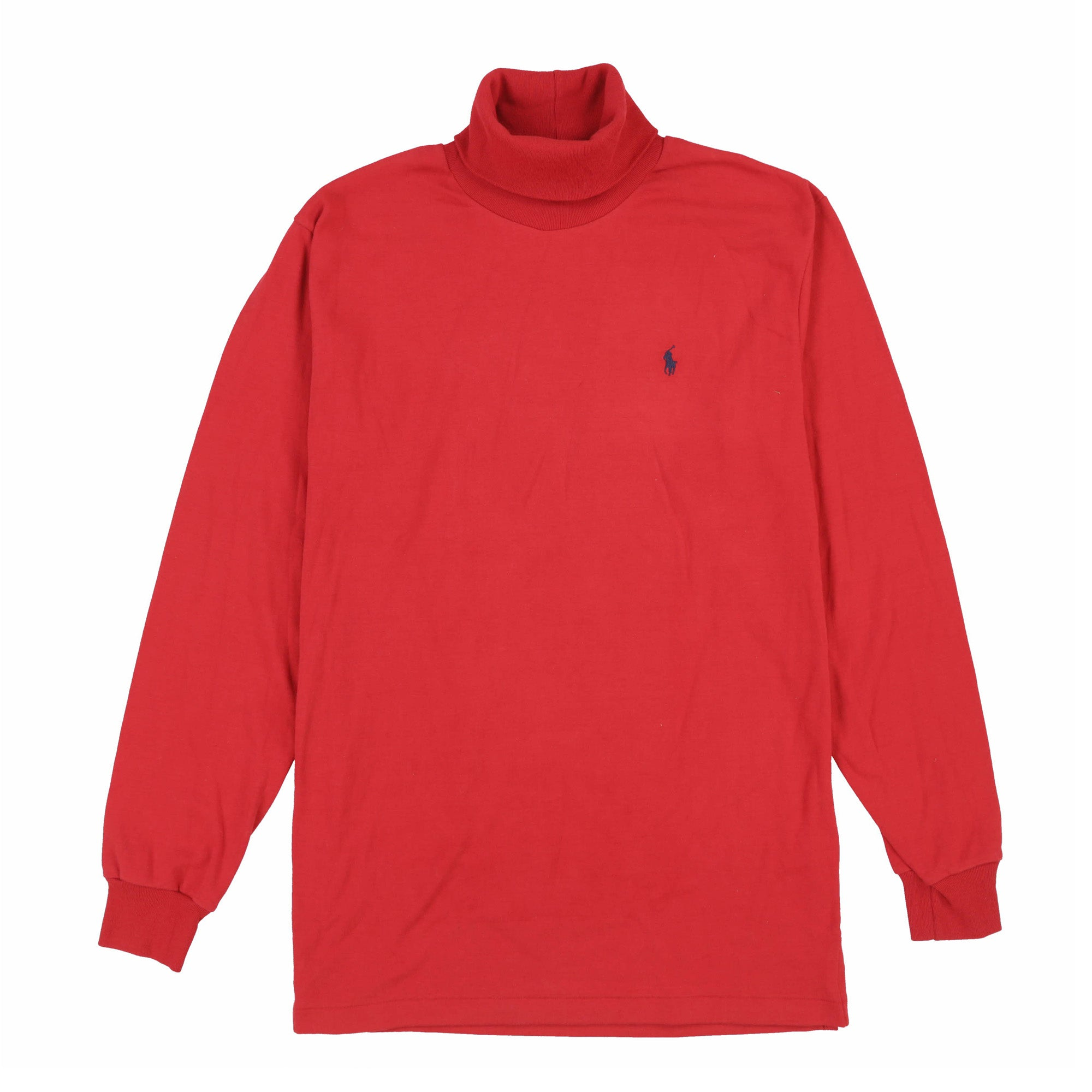 POLO SOLID BASIC INTERLOCK TURTLENECK // RED