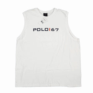 POLO SPORT SPELL OUT MUSCLE TANK TOP // WHITE