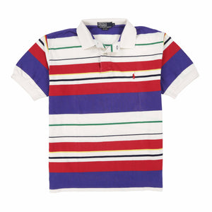 POLO STRIPE SS POLO // WHITE PURPLE RED