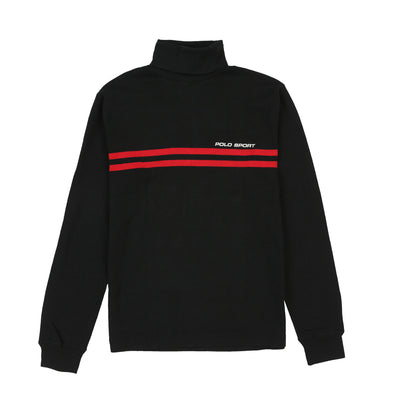 POLO SPORT CLASSICS STRIPE TURTLENECK // BLACK RED