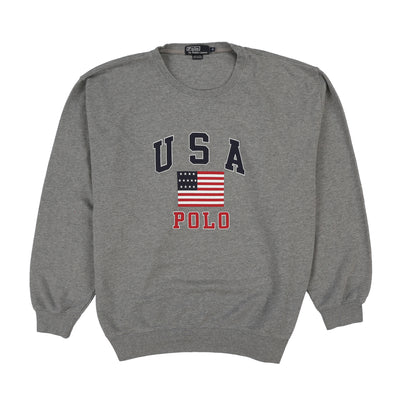 POLO SPELL OUT USA FLAG CREWNECK // HEATHER GREY