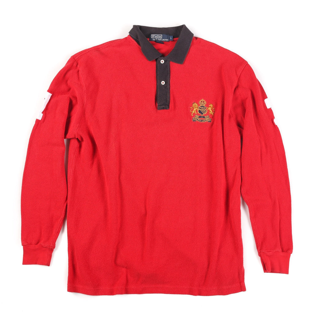 POLO 30 YEARS CREST LS POLO// RED BLACK
