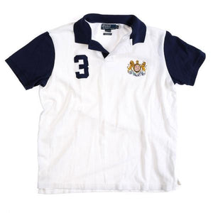 POLO LION UNICORN CREST CUSTOM FIT POLO // WHITE NAVY