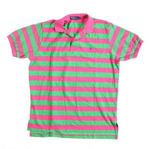 POLO MADE USA STRIPED POLO // PINK GREEN