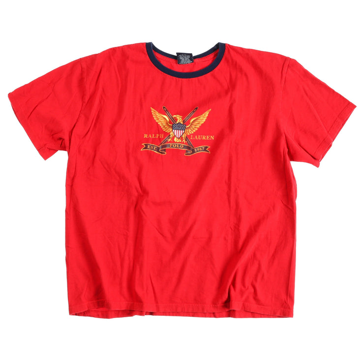 POLO SPORT EAGLE SHIELD TEE // RED