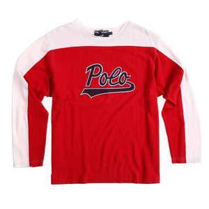 POLO SPORT SCRIPT SPELL OUT PIQUE LS TEE // RED WHITE