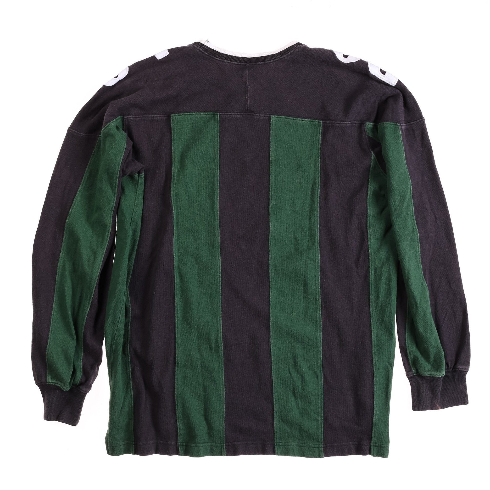 POLO SPORT SHOULDER SPELL OUT VERTICAL STRIPE LS TEE // GREEN BLACK