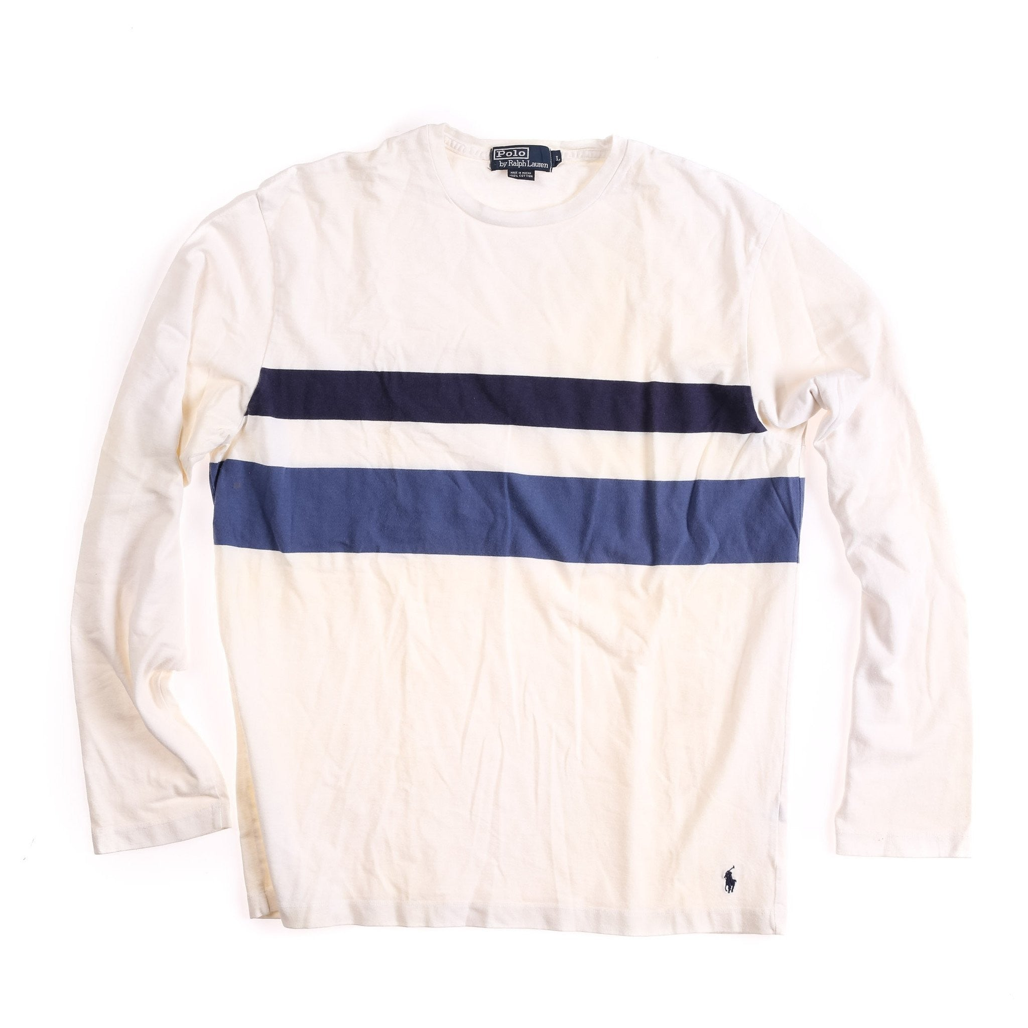 POLO STRIPED LS TEE // WHITE BLUE