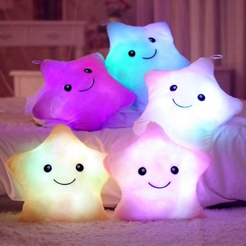 Romantic LED Light Up Glow Pillow Soft Cosy Relax Cushion Stars Gift for kid Best