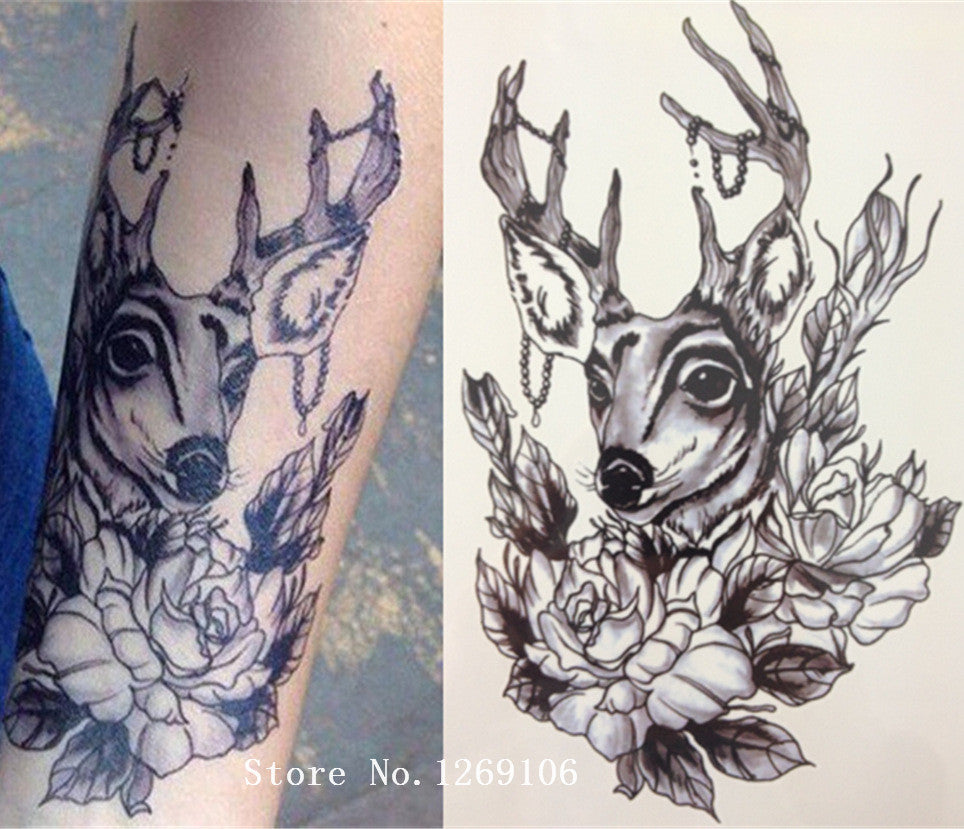 Deer And Flower Sexy Cool Beauty Tattoo Waterproof