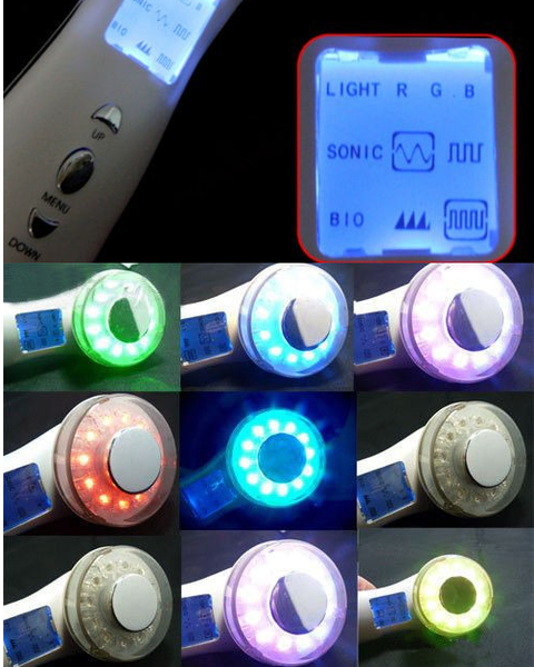 Ultrasonic Waves LCD Seven Colour Photon Beautiful Skin Care Device