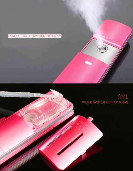 Rechargeable Sliding Nano Facial Steamer, Handy Ionic Cool Mist Sprayer 2 Colors