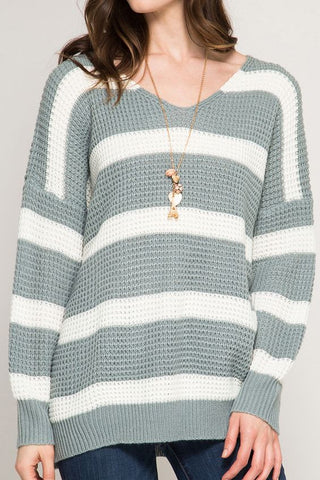 Slate Long Sleeve V Neck Stripe Sweater