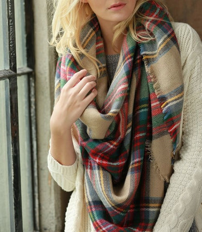 Beige Multi-Color Plaid Blanket Scarf