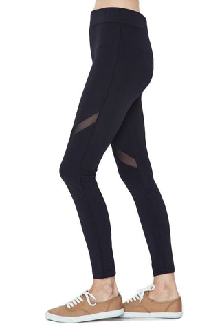 Black Mesh Detail Leggings