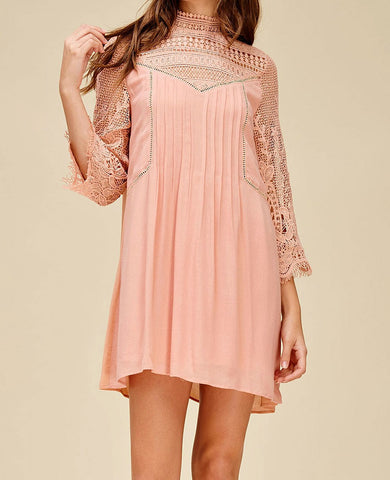 Blush Embroidered Lace Dress