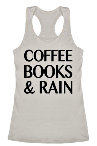 Ivory 'Coffee Books & Rain' Graphic Tank Top