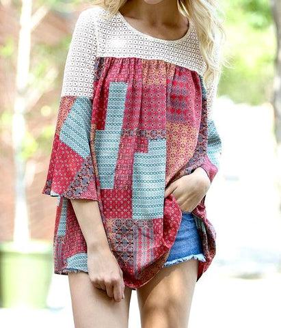Red 3/4 Sleeve Boho Top