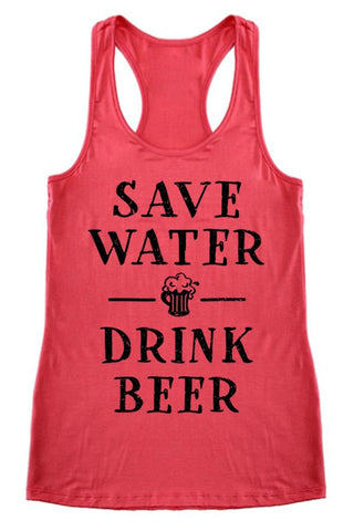 Coral 'Save Water Drink Beer' Graphic Tank Top