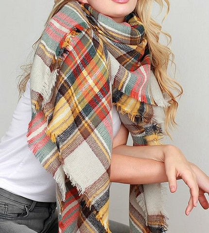 Mustard Multi-Color Plaid Blanket Scarf