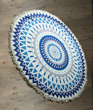 Ivory & Blue Aztec Print Beach Towel