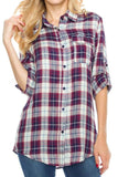 Wine Button Up Flannel Shirt