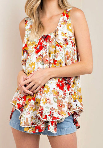Cream Floral Blouse Top