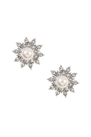Starburst Pearl & Cubic Zirconia Stud Earrings