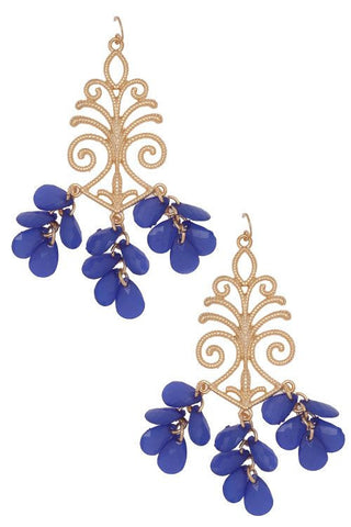 Royal Blue & Gold Chandelier Earrings
