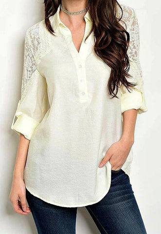 Ivory Lace Trim Button Up Blouse Top