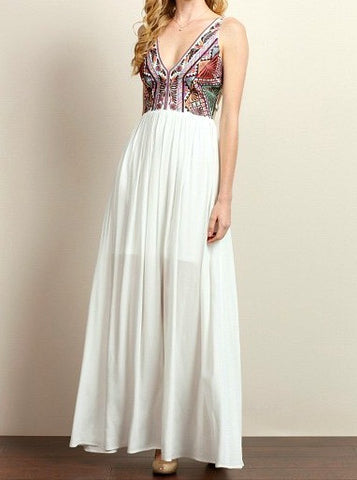 Embroidered Tribal Pattern Maxi Dress