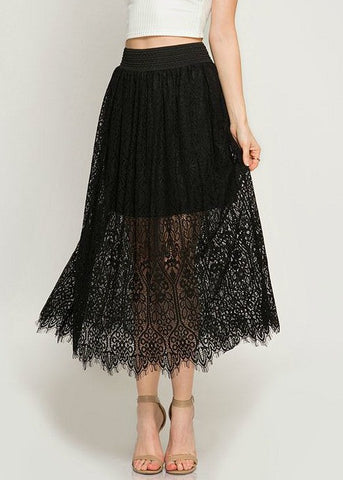 Black Lace Midi Skirt