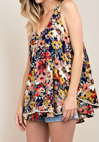 Navy Blue Floral Blouse Top