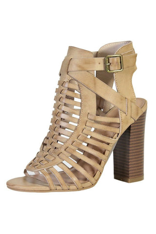 Stone Caged High Heel Sandals