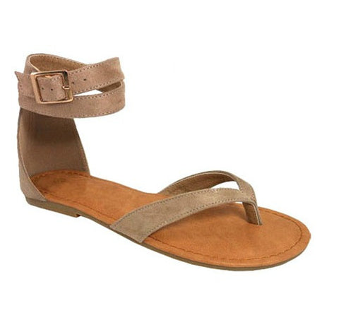Taupe Flat Sandals