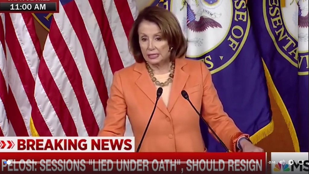 VIDEO: Pelosi struggles to answer question about Sessions, Lynch and Clinton; proves she's incompetent (again)
