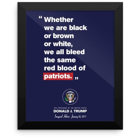 "45th President Trump Inauguration ""Blood of Patriots"" Framed Print"