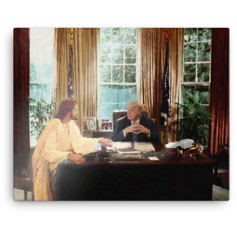 """Cabinet of One,"" Jesus Talks with President Trump Art Print"