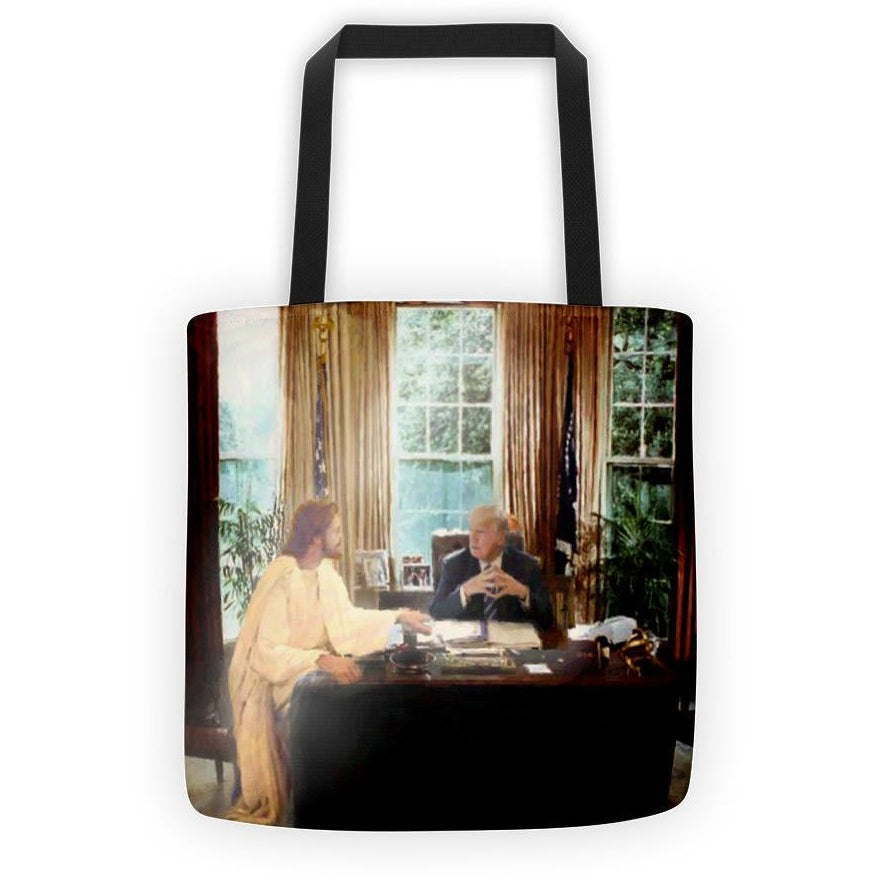 """Cabinet of One"" Jesus Talks to President Trump Tote Bag"