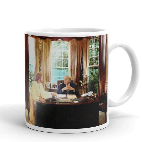 """Cabinet of One"" Jesus Talks with Trump Mug"