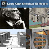 7 Projects of Louis Kahn Architecture Sketchup 3D Models