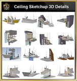 【Best 70 Types Ceiling Sketchup 3D Detail Models】Sketchup Ceiling Details,light steel frame ceiling,hard cover ceiling,plasterboard ceiling,mirror ceiling,wood veneer ceiling